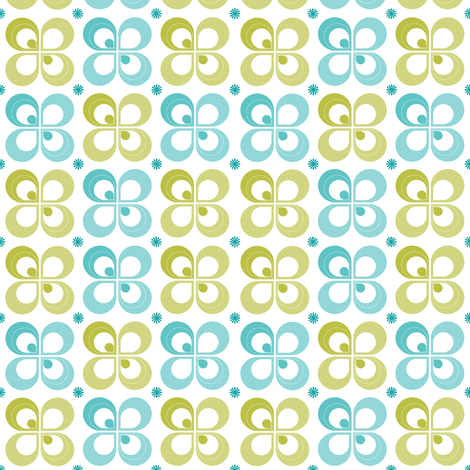 Summer Flower Cyan fabric by brainsarepretty on Spoonflower - custom fabric