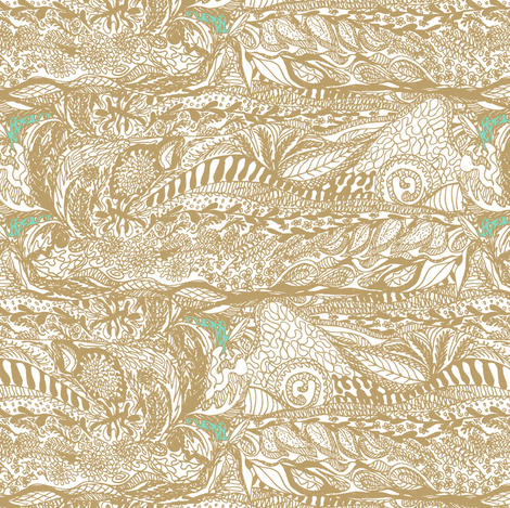 Gold in the Hills - Organic Landscape fabric by rhondadesigns on Spoonflower - custom fabric