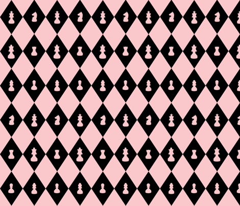 Chessboard Check in Black and Pink fabric by charmcitycurios on Spoonflower - custom fabric