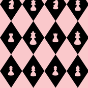 Chessboard Check in Black and Pink