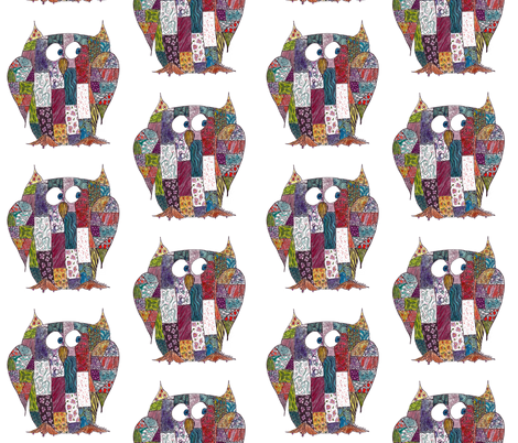 Log Cabin Owl fabric by aftermyart on Spoonflower - custom fabric
