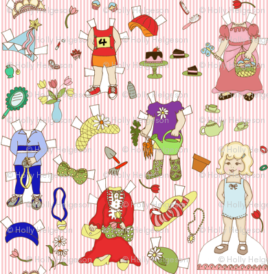 Miss Ruby Paper Dolls with stripe