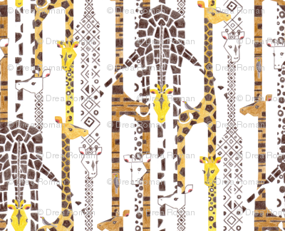 Giraffe Line-Up (Color Pencil)