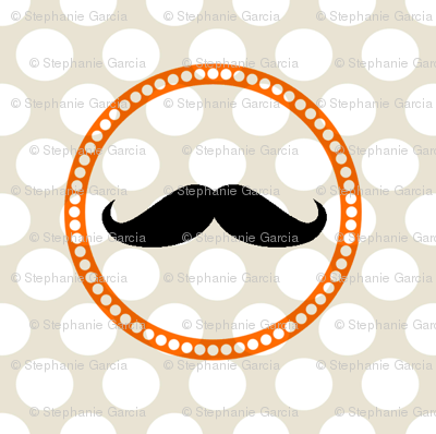 Orange-Grey Mustache Polka