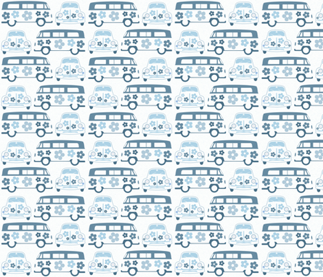 Blue Campers & Beetles fabric by dogsndubs on Spoonflower - custom fabric