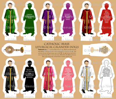 Liturgical Calendar priest colors dolls cut and sew
