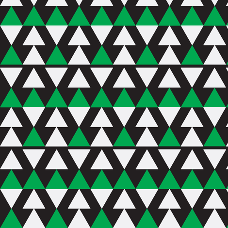 Green & White Triangles on Black fabric by stoflab on Spoonflower - custom fabric