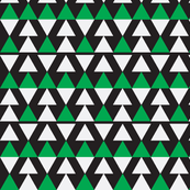 Green & White Triangles on Black