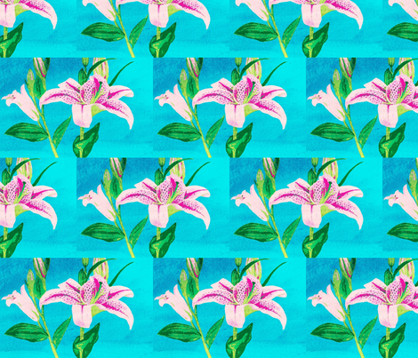 Asiatic Lily Bright Aqua - tile fabric by painter13 on Spoonflower - custom fabric