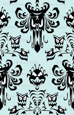 Medium Haunted Mansion Damask in Mint