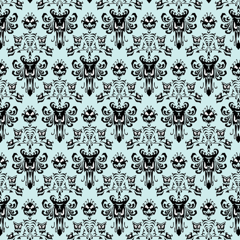 Medium Haunted Mansion Damask in Mint fabric by charmcitycurios on Spoonflower - custom fabric