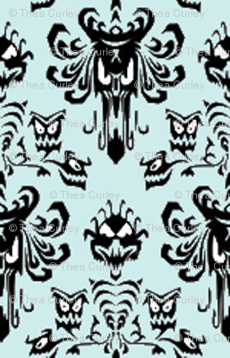Small Haunted Mansion Damask in Mint