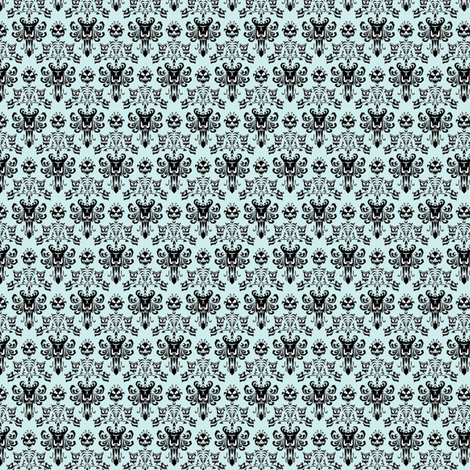 Small Haunted Mansion Damask in Mint fabric by charmcitycurios on Spoonflower - custom fabric