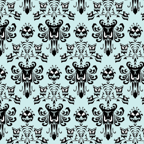 Large Haunted Mansion Damask in Mint fabric by charmcitycurios on Spoonflower - custom fabric