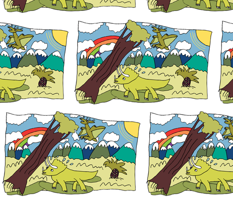 Dino Scene Lookout fabric by iliketodraw on Spoonflower - custom fabric