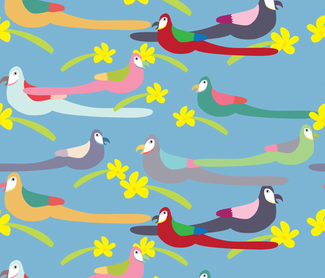 Parrots fabric by heartfullofbirds on Spoonflower - custom fabric