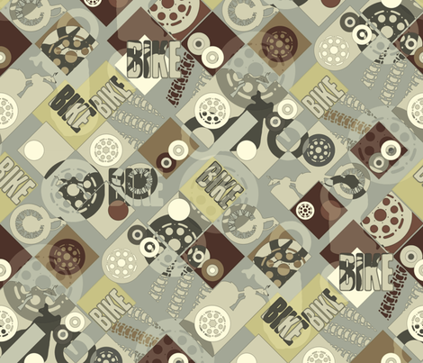 BIKE (natural) fabric by scrummy on Spoonflower - custom fabric