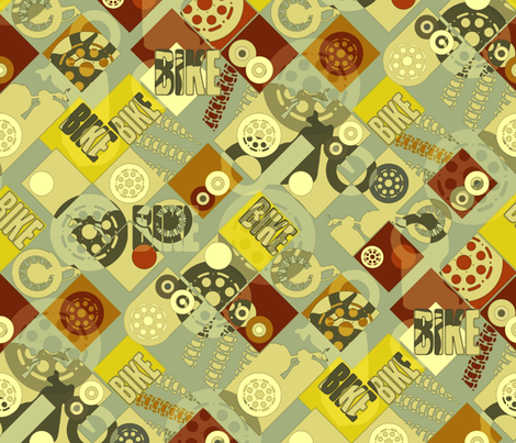 BIKE (retro) fabric by scrummy on Spoonflower - custom fabric