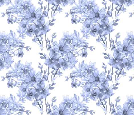 Blue Flower Trellis fabric by joanna_oh! on Spoonflower - custom fabric