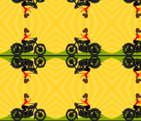 MotorcycleGirl fabric by ninjaauntsdesigns on Spoonflower - custom fabric