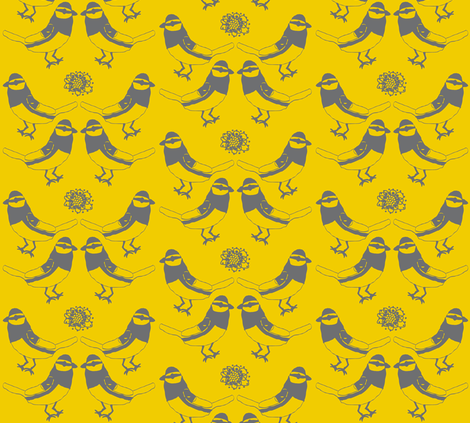 Golden-Cheeked Warblers fabric by heartfullofbirds on Spoonflower - custom fabric