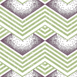 Distressed DIamonds and Chevrons Smoky Plum and Margarita Green