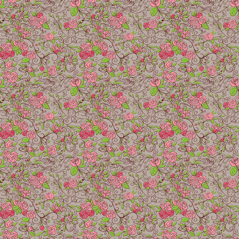 Roses.  Vector. fabric by yaskii on Spoonflower - custom fabric