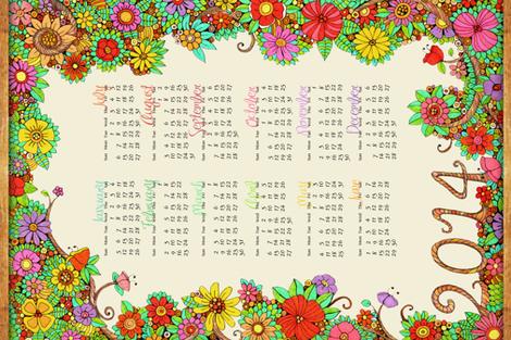 Enchanted Forest Calendar fabric by dinorahdesign on Spoonflower - custom fabric