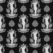 Small Venus Damask Gray on Black