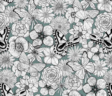 Floral chaos fabric by dinorahdesign on Spoonflower - custom fabric
