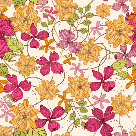 Yellow-pink flowers fabric by yaskii on Spoonflower - custom fabric