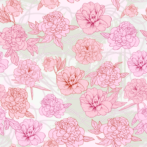 Pink peones fabric by innaogando on Spoonflower - custom fabric