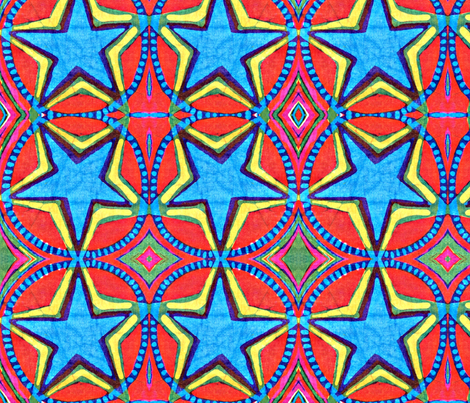 big blue star fabric by hooeybatiks on Spoonflower - custom fabric