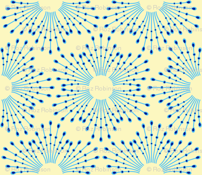 Starburst beads - blue on cream