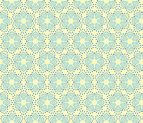 Starburst beads - blue on cream fabric by coggon_(roz_robinson) on Spoonflower - custom fabric