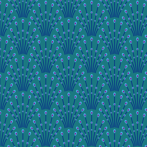 Art deco beads - blue on teal fabric by coggon_(roz_robinson) on Spoonflower - custom fabric