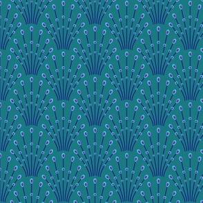 Art deco beads - blue on teal
