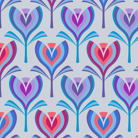 Tulips - blue & coral fabric by coggon_(roz_robinson) on Spoonflower - custom fabric