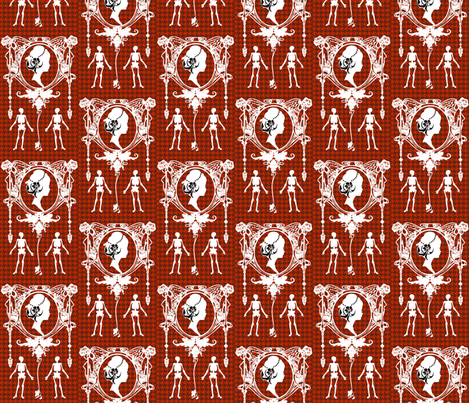Death Cameo Houndstooth-Red fabric by happyhappymeowmeow on Spoonflower - custom fabric