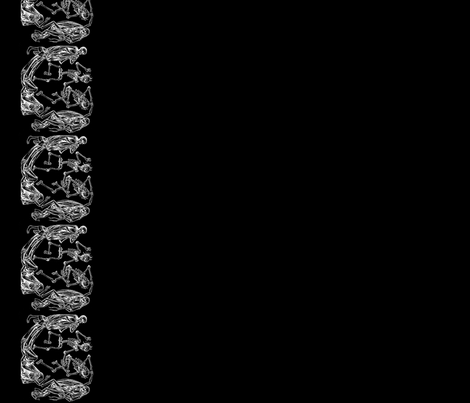 Plague Border in White on Black fabric by charmcitycurios on Spoonflower - custom fabric
