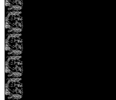Plague Border in White on Black II fabric by charmcitycurios on Spoonflower - custom fabric