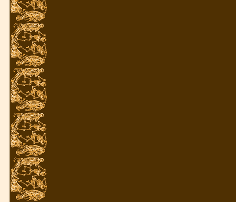 Plague Border in Cream on Brown II