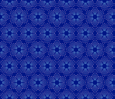 Starburst beads - blue & coral on navy fabric by coggon_(roz_robinson) on Spoonflower - custom fabric