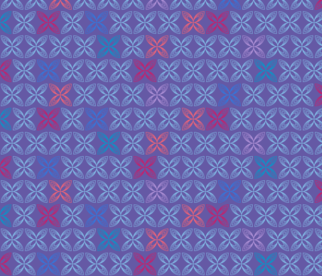 Kiss line flowers - blue & coral on purple fabric by coggon_(roz_robinson) on Spoonflower - custom fabric