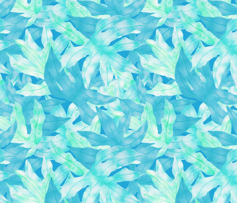 Blue Leaves fabric by aimeesthill on Spoonflower - custom fabric