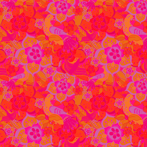 Birds in Flowers fabric by aimeesthill on Spoonflower - custom fabric