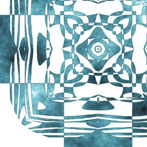 Geo Floral Teal Design, L