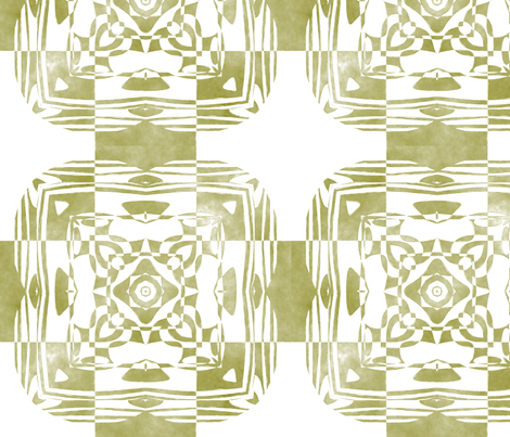Geo Floral Moss Green Design, L fabric by animotaxis on Spoonflower - custom fabric