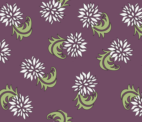 Aubergine Floral fabric by designedtoat on Spoonflower - custom fabric