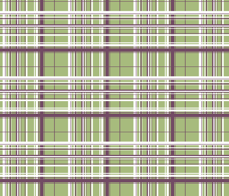 White & Purple Plaid w/ Green Background fabric by ruthevelyn on Spoonflower - custom fabric